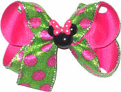 Medium Minnie Mouse with Green and Shocking Pink Dots Glitter over Shocking Pink Double Layer Overlay Bow