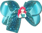 Medium Blue and Turquoise Glitter over Navajo Turquoise with Ariel Minature Double Layer Overlay Bow