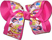 Large Disney Princesses over Raspberry Rose Double Layer Overlay Bow