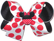 Medium White with Red Dots over Black with Minnie Miniature Double Layer Overlay Bow