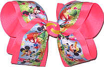 Large Mickey and Minnie on Vacation over Tutti Fruiti Double Layer Overlay Bow