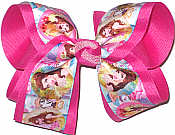 Large Belle and Mrs Potts over Raspberry Rose Double Layer Overlay Bow