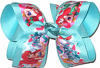 Large Ariel over Aqua Double Layer Overlay Bow