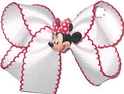 Medium Minnie Mouse Miniature with White with Red Moonstitch Double Layer Overlay Bow