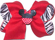 Toddler Minnie Mouse Miniature with Red over Black and White Zebra Stripe Double Layer Overlay Bow