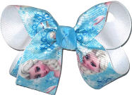 Medium Elsa Print over White Double Layer Overlay Bow