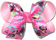 Medium Minnie Mouse over Light Pink Double Layer Overlay Bow