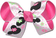 Medium Minnie Mouse over Hot Pink Double Layer Overlay Bow