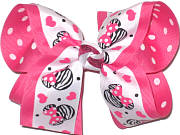Large Minnie Print over Hot Pink with White Dots Double Layer Overlay Bow
