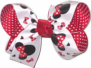 Medium Minnie Print over Red Double Layer Overlay Bow