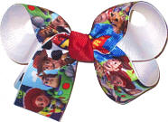 Medium Toy Story Characters over White Double Layer Overlay Bow