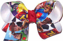 Toddler Toy Story Characters over White Double Layer Overlay Bow