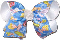 Toddler Cinderella over white Double Layer Overlay Bow