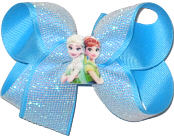 Medium Elsa and Anna Miniature with White Glitter Mesh over Mystic Blue Double Layer Overlay Bow