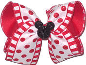 Large Minnie Silhouette on Red and White Canvas with Red Glitter Dots over Red Double Layer Overlay Bow