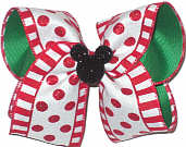 Large Minnie Silhouette on Red and White Canvas with Red Glitter Dots over Emerald Green Double Layer Overlay Bow
