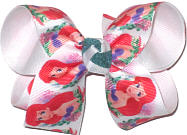 Medium Little Mermaid Ariel over White Double Layer Overlay Bow