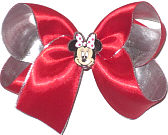 Medium Red Satin over Silver Lame' with Minnie Mouse Miniature Double Layer Overlay Bow