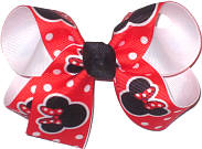 Medium Minnie Mouse on Red with White Dots over White Double Layer Overlay Bow