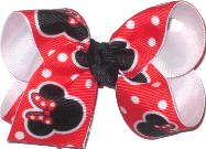 Toddler Minnie Mouse on Red with White Dots over White Double Layer Overlay Bow