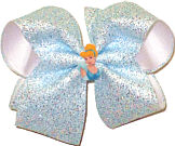 Large Cinderella Miniature on Blue Silver White Crackle Sparkle over White Double Layer Overlay Bow