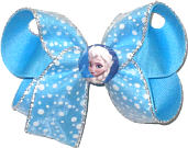 Medium Frozen Elsa Miniature on Snow-like White Flocked Dot Chiffon over Mystic Blue Double Layer Overlay Bow