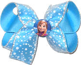 Medium Frozen Anna Miniature on Snow-like White Flocked Dot Chiffon over Mystic Blue Double Layer Overlay Bow