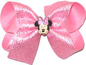 Medium Minnie Mouse Miniature on Pink Sparkle Chiffon over Pink Double Layer Overlay Bow