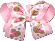 Large Minnie Mouse with Swarovski Crystals over Light Pink Double Layer Overlay Bow