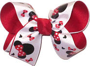 Medium Minnie Mouse Sillouette with Red Bow over Red Double Layer Overlay Bow