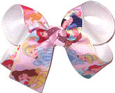 Medium Sleeping Beauty Snow White Jasmine Cinderella Ariel Belle over White Double Layer Overlay Bow
