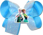 Medium Elsa Anna and Olaf Miniature with White Glitter Mesh over Mystic Blue Double Layer Overlay Bow