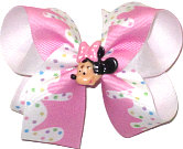 Medium Minnie Miniature with Pink and WHite Icing Ribbon Double Layer Overlay Bow