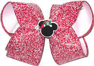 Large Christmas Mouse Silhouette with Swarovski Crystal on Red with Snow Flurries over White Double Layer Overlay Bow