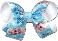 Medium Elsa over White Double Layer Overlay Bow