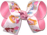 Medium Disney Princesses Cinderella Sleeping Beauty Ariel Tiana Belle Rapunzel over Pink Double Layer Overlay Bow