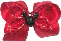 Toddler Red Snakeskin with Glitter Finish Minnie Silhouette with Red Glitter Bow and Swarovski Crystal Jewel over Red Double