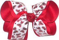 Large Red Metallic Minnie Bows on White over Red Double Layer Overlay Bow