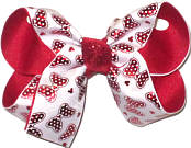 Medium Red Metallic Minnie Bows on White over Red Double Layer Overlay Bow