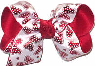 Toddler Red Metallic Minnie Bows on White over Red Double Layer Overlay Bow