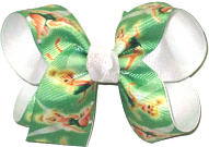 Medium Tinkerbell over White Double Layer Overlay Bow