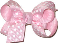Small Light Pink with Small White Dots Polka Dot Bow
