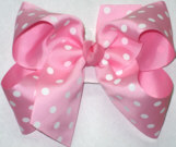 Large Pink with White Polka Dots Polka Dot Bow