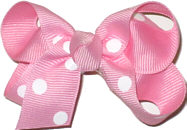 Small Pink with White Dots Polka Dot Bow
