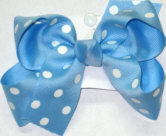 Medium 312 Blue with White Dots Polka Dot Bow