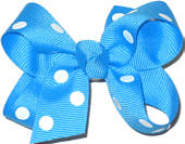 Small Island Blue with White Dots Polka Dot Bow