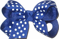 Small Century Blue with White Small Dots Polka Dot Bow