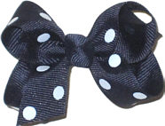 Small Navy with White Dots Polka Dot Bow