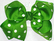 Medium Apple Green with White Dots Polka Dot Bow