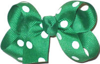 Small Emerald with White Dots Polka Dot Bow